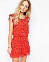 Pepe Jeans Printed Dress With Frill Sleeves