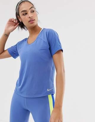 Nike Running Cutout Back T-shirt In Blue