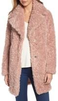 Kensie Women's 'Teddy Bear' Notch Collar Faux Fur Coat