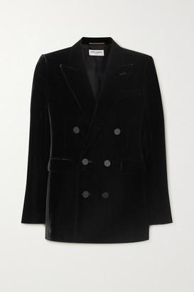 Saint Laurent Double-breasted Velvet Blazer - Black