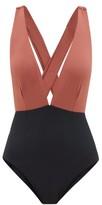 Haight Marina Tie-back Swimsuit - Womens - Black Brown