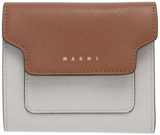 Marni Brown and Grey Square Flap Wallet