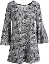 Glam Black & White Geometric Bell-Sleeve V-Neck Tunic