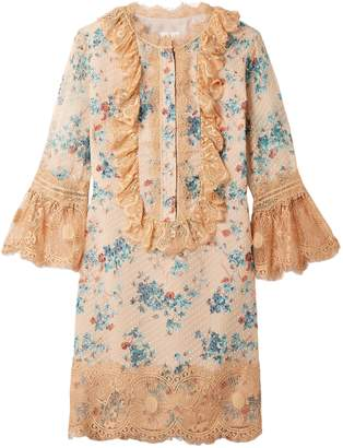Anna Sui Decoupage Lace-trimmed Fil Coupe Silk-blend Mini Dress
