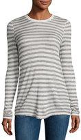 ATM Anthony Thomas Melillo Long-Sleeve Striped Jersey Tee, Oatmeal/Gray