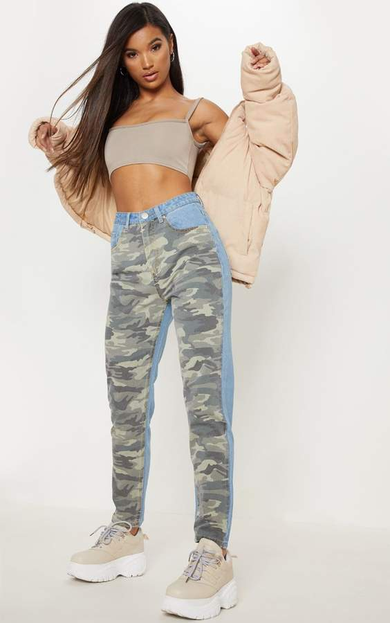 PrettyLittleThing Camo Two Tone Straight Leg Jeans