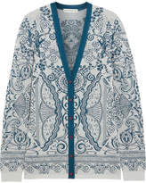 Mary Katrantzou Metallic Jacquard-knit Cardigan - Teal