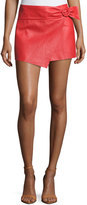 BA&SH Braddy Leather Wrap-Front Miniskirt, Red