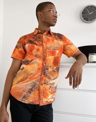 ASOS DESIGN regular revere shirt in landscape marble print