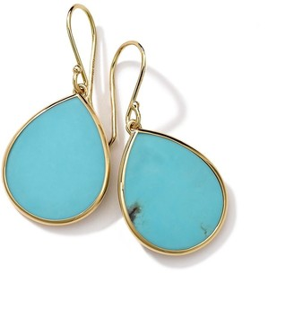 Ippolita 18kt yellow gold small Polished Rock Candy Teardrop turquoise earrings
