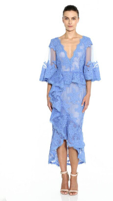 Marchesa Lace Flutter Sleeve Midi Dress