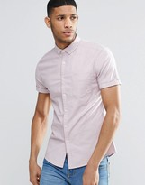 Asos Skinny Oxford Shirt In Dusty Pink With Short Sleeves