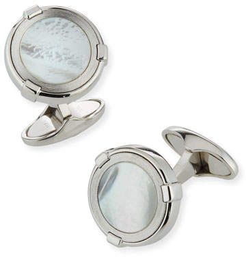 Dunhill Latch Station Silver Cuff Links with Mother-of-Pearl