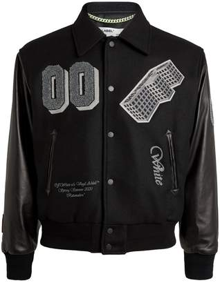 Off-White Off White Patch-Embroidered Varsity Bomber Jacket