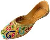 Step n Style Women Flat Dabka & Thread Work Khussa Shoes Punjabi Jutti Flip Flop US