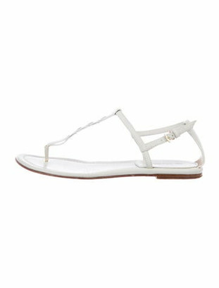 Loro Piana Leather T-Strap Sandals White