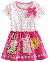 LEMONBABY Peppa Pig cartoon baby girls skirt cotton birthday dress (4Y, )