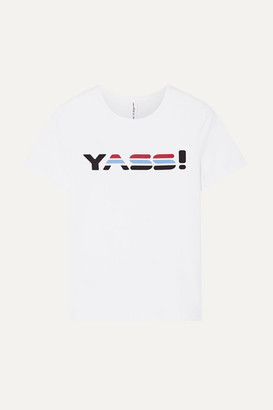 Adam Selman Printed Stretch-cotton Jersey T-shirt - White