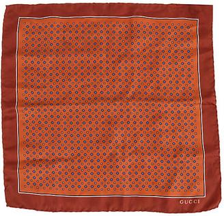 One Kings Lane Vintage Gucci Brown Silk Pocket Scarf - Vintage Lux