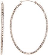 Candela 10K White Gold Diamond-Cut Oval Hoop Earrings