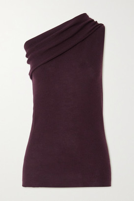 Rick Owens One-shoulder Ribbed Wool Top - Burgundy