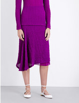 Victoria Beckham Draped silk-seersucker midi skirt