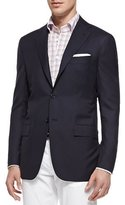 Kiton Three-Button Wool Blazer, Navy