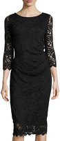 Neiman Marcus Floral Lace Sheath Dress, Black
