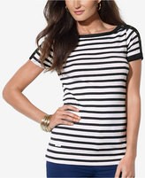 Lauren Ralph Lauren Striped Button-Shoulder Tee