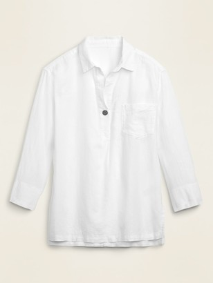 Old Navy Linen-Blend Popover Tunic Shirt for Women