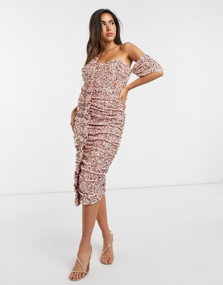 ASOS DESIGN off shoulder ruffle sequin midi dress in pink