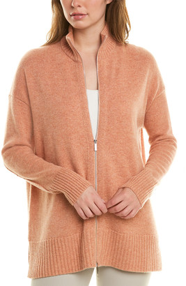 Lafayette 148 New York Stand Collar Zip Front Cashmere Cardigan