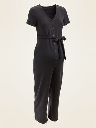 Old Navy Maternity French Terry Tie-Belt Utility Jumpsuit