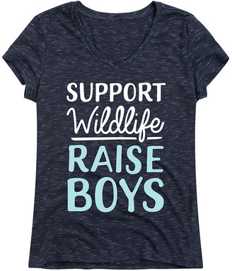 Instant Message Women's Women's Tee Shirts NAVY - Navy 'Support Wildlife Raise Boys' V-Neck Tee - Women