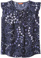 Joe Fresh Women's Print Flouce Shell Top, Dark Blue (Size L)