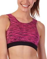 Molten Pink & Black Space-Dye Sports Bra