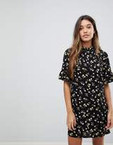 Fashion Union High Neck Shift Dress In Daisy Floral