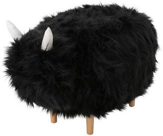 Gdfstudio GDF Studio Kamla Furry Yak Ottoman, Black/Natural Finish