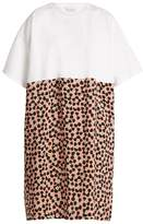 Raey Cotton and Ditsy-print silk T-shirt dress