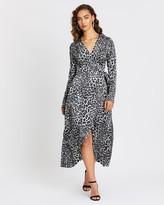 Missguided Wrap Front LS Midi Dress