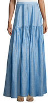 Co Gathered Maxi Skirt, Light Blue