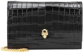 Alexander McQueen Skull Mini croc-effect crossbody bag