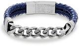 Steve Madden Men's Chain Link & Braided Leather Bracelet