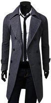 ClothingLoves Notched Woolen Long Sleeve Double Breasted Men's Trench Coats XX-Large