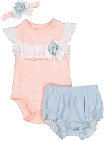 Baby Essentials Coral Polka Dot Cambray Bodysuit Set - Infant