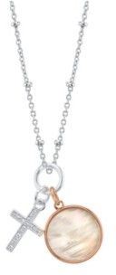 """Unwritten Cubic Zirconia Cross And Mother Of Pearl Pendant Rose Gold Two Tone Fine Plated Silver Necklace, 16"""" +2"""" extender"""