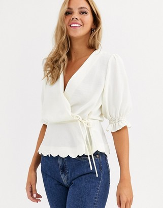 Miss Selfridge wrap blouse with scallop hem in ivory-Cream