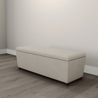 The White Company Langley Wool Ottoman Dark Stained Leg, Light Grey Wool, One Size