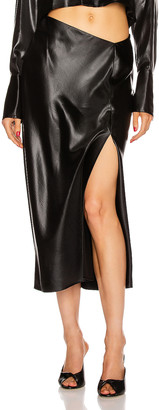 T by Alexander Wang Wet Shine Wash & Go Midi Skirt in Black | FWRD