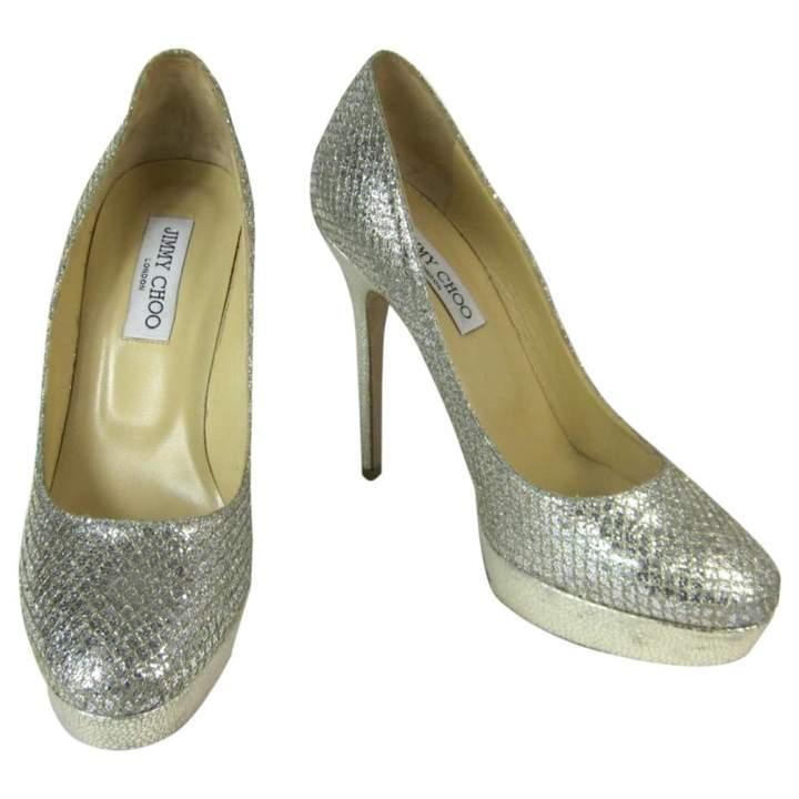 Jimmy Choo Silver Leather Heels
